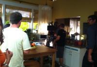 Camera operators set up shot