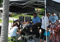Director Jonathan Frakes watches crew set up