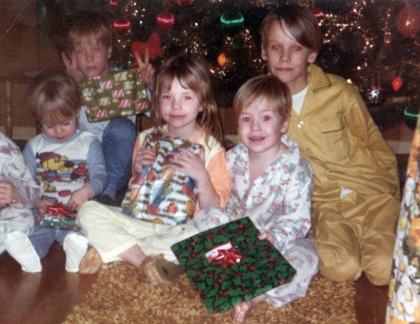 The kids celebrate Christmas