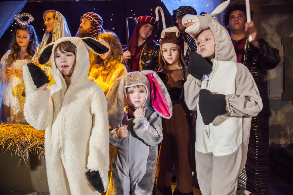 Robertson Children as Stable Animals in Nativity Story
