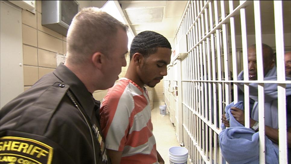 Jordan Cowers Before Inmates