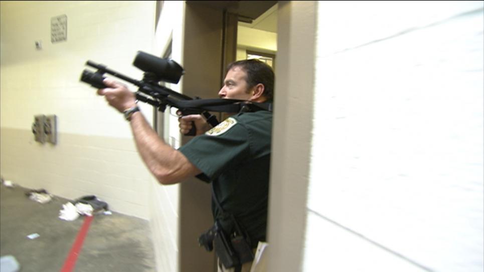 Lieutenant Knight Fires Pellet Gun