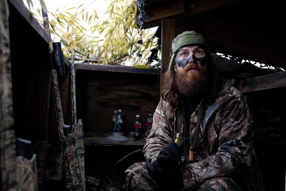 Jep waits in duck blind
