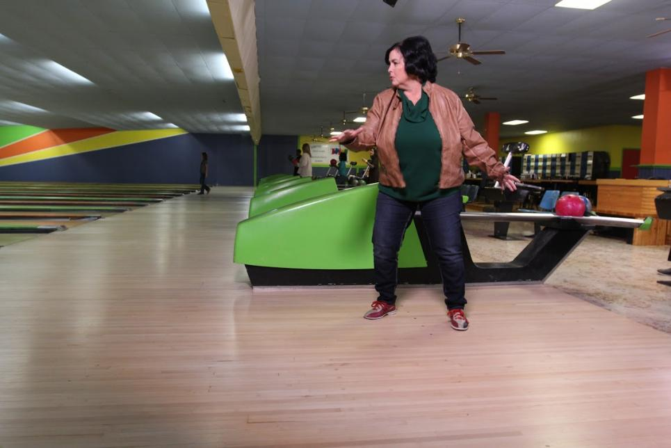 Kay Robertson has fun bowling with grandkids