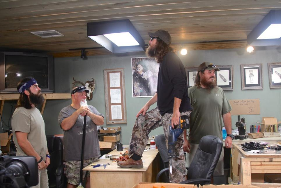 Jase checks ceiling for varmint