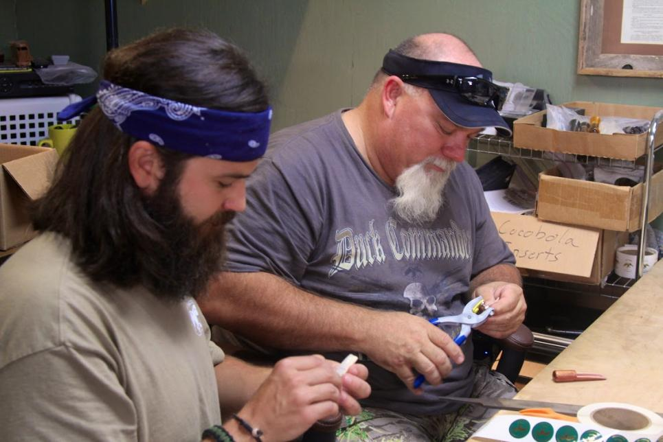Jep and Godwin work on Duck Calls