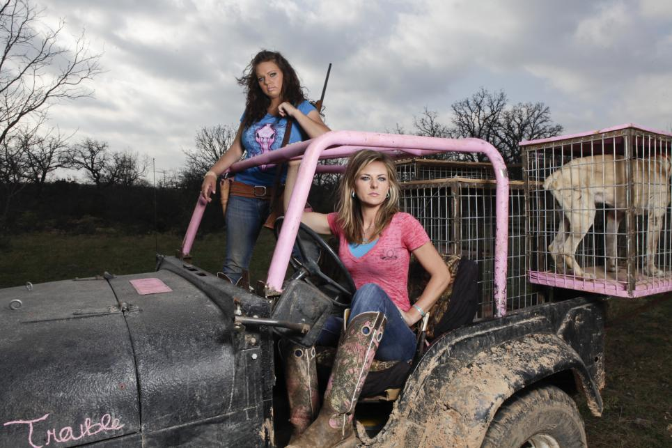 Krystal and Lea in Their Pink Jeep