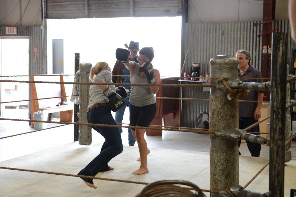 Vic dodges a punch