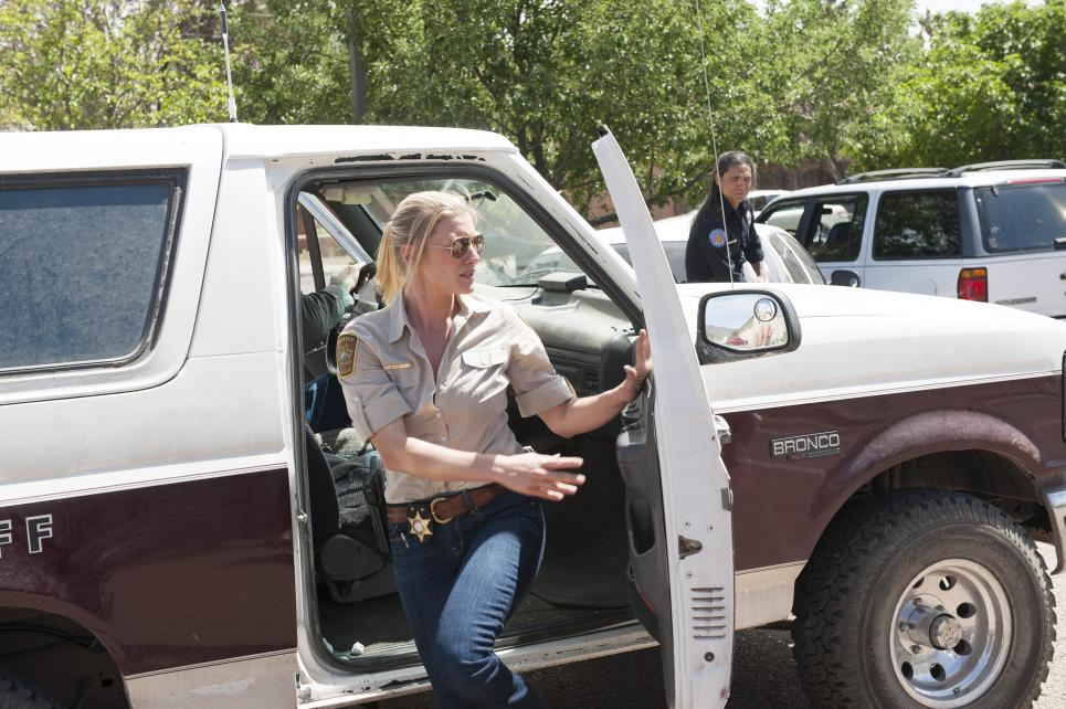 Vic hops out of Walt's truck