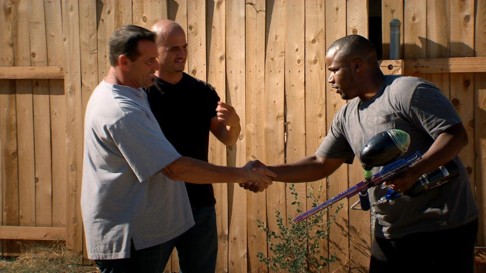 Steve and Antonio meet paintball gun owner