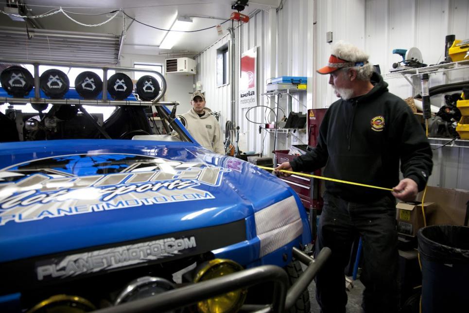 Marc measures race truck