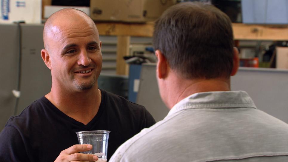 Steve drinking homemade beer