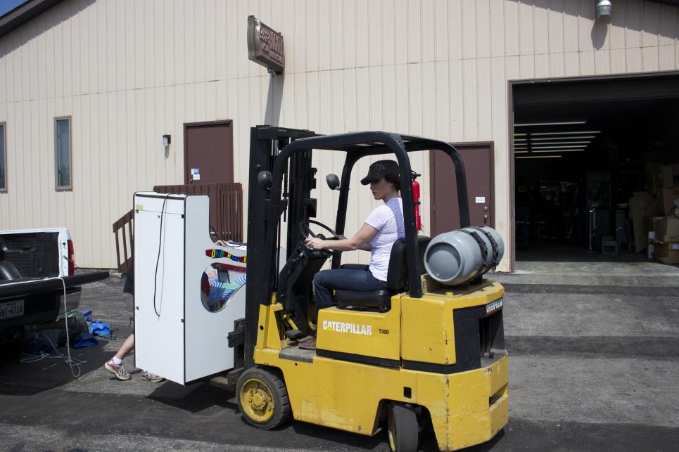 Jennifer Uses a Forklift