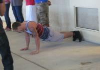 Austin does push-ups