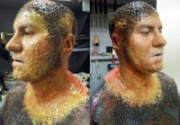 He added layers of quick-set silicone to  actor's face