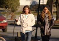 Noelle and Courtney Walk Dog