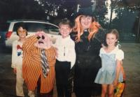 Miss Kay With Grandkids on Halloween