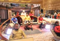 Chris and Robbie Sit in Star Trek: Next Generation Bridge