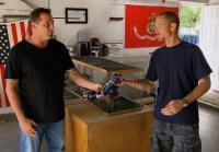Antonio trades paintball gun for python