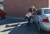 Vic hurls herself around Rosa's car