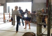 Vic kicks Lorna into ropes