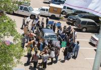 Cheyenne protesters surround Newett Energy truck