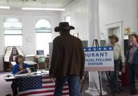 Walt arrives at polling station to vote