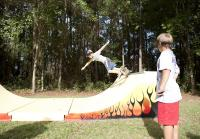 Kids have fun on half-pipe
