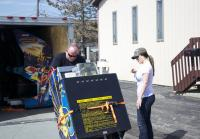 Customer Unloads Arcade machines