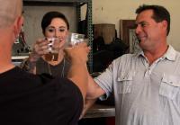 Antonio and Kendall taste Steve's beer
