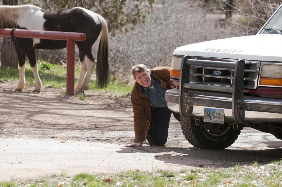 Walt peeks out from behind Bronco