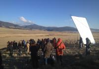 Crew gets ready to film scene