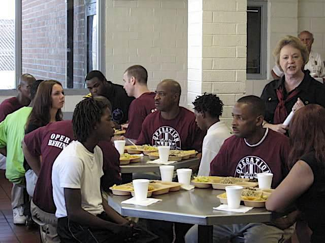 Teens eat prison lunch at Lieber
