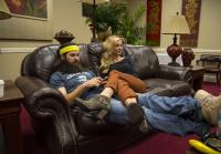 Jessica and Jep relax before camo shoot