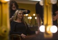 Jessica  jokes with hair stylist