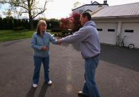 Jarrett says goodbye to chicken coop seller